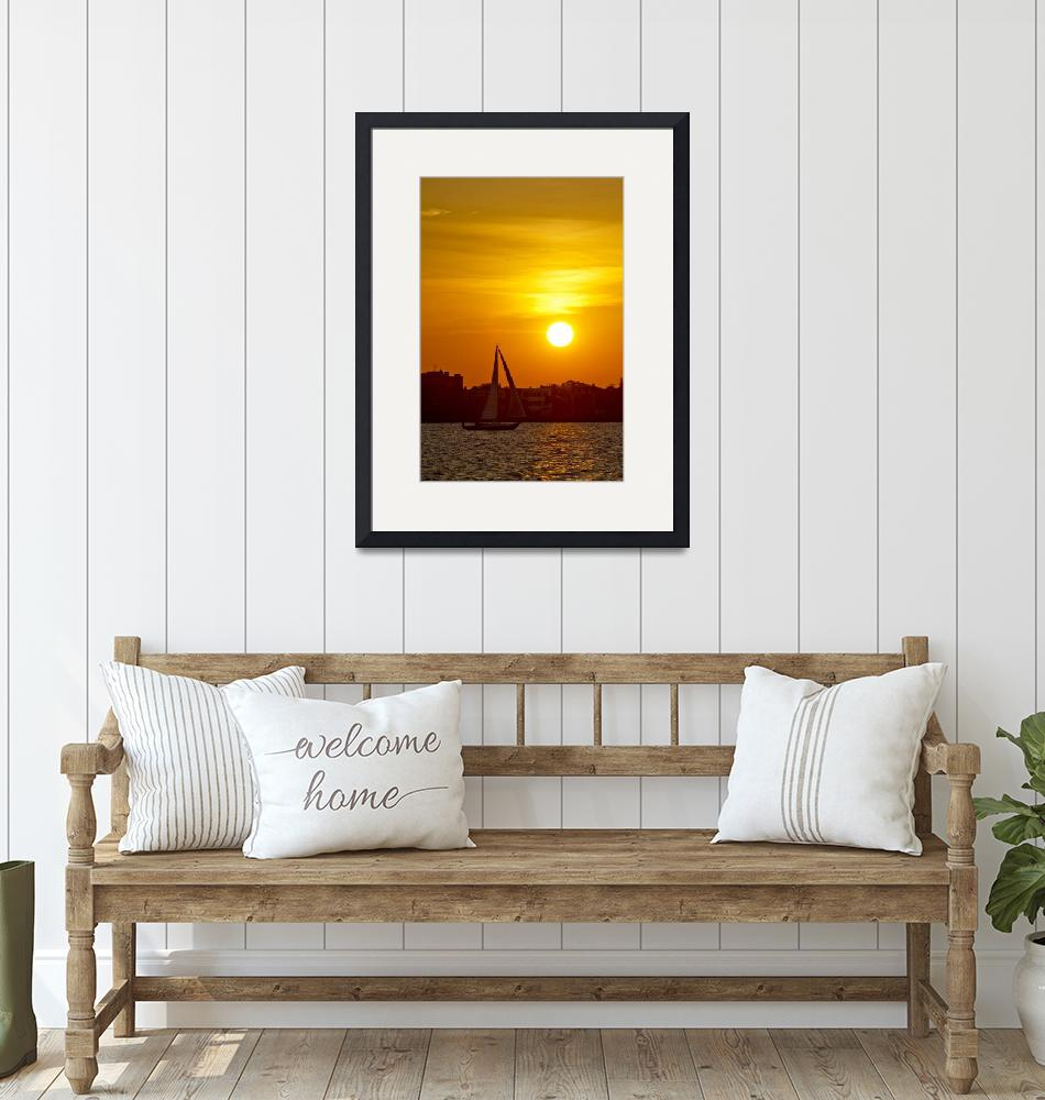 """""""Sunset on the Charleston Battery with Sailboat""""  (2011) by DustinKRyan"""