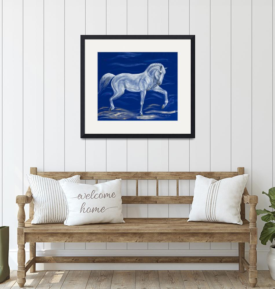 """White horse on blue velvet""  (2008) by kunst-grafik"