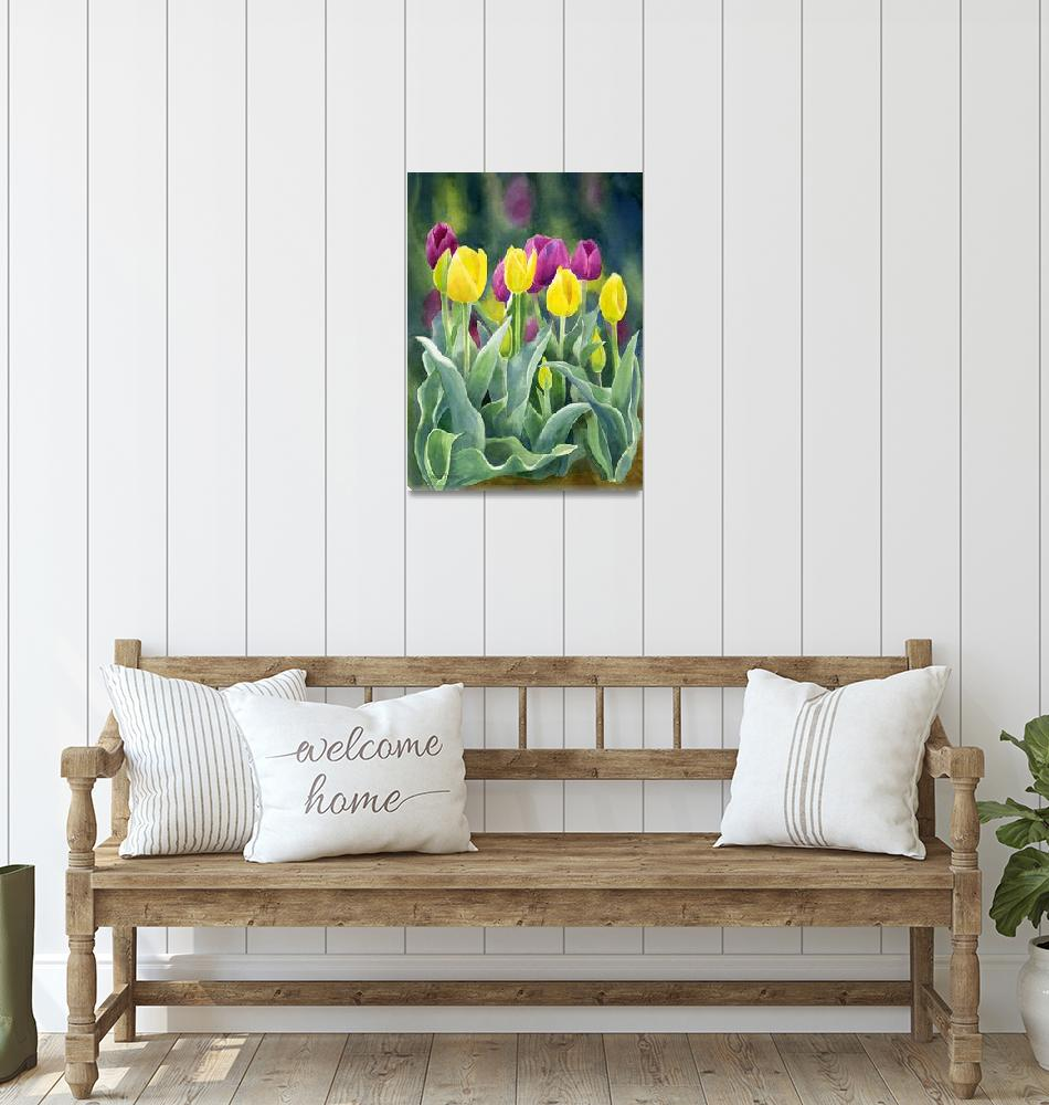 """""""Yellow and Red Violet Tulips dark background""""  (2012) by Pacific-NW-Watercolors"""