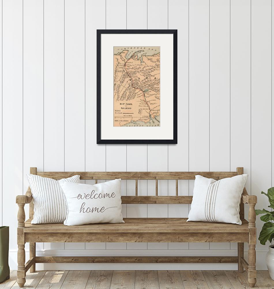 """Vintage Map of The Panama Canal (1885)""  by Alleycatshirts"
