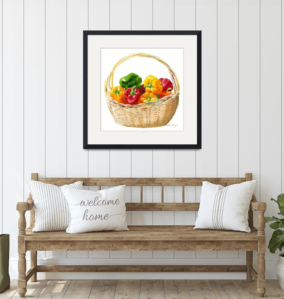 """Basket of Peppers, Square Design""  (2010) by Pacific-NW-Watercolors"