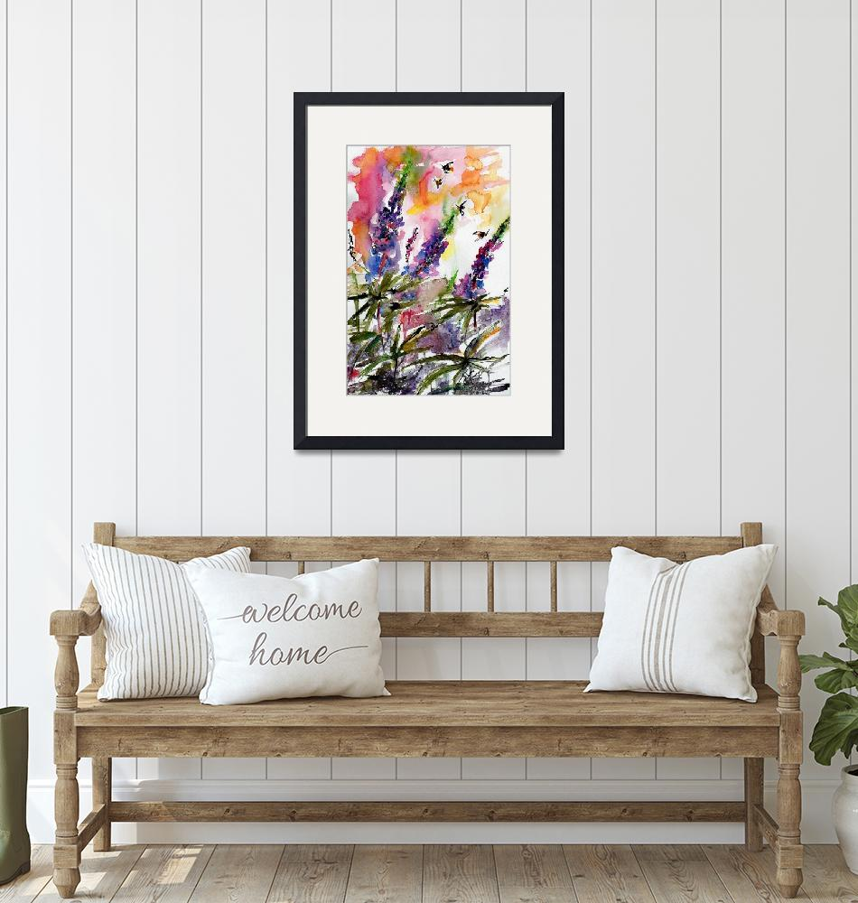 """""""Lupines and Bees In Garden Watercolor""""  (2016) by GinetteCallaway"""