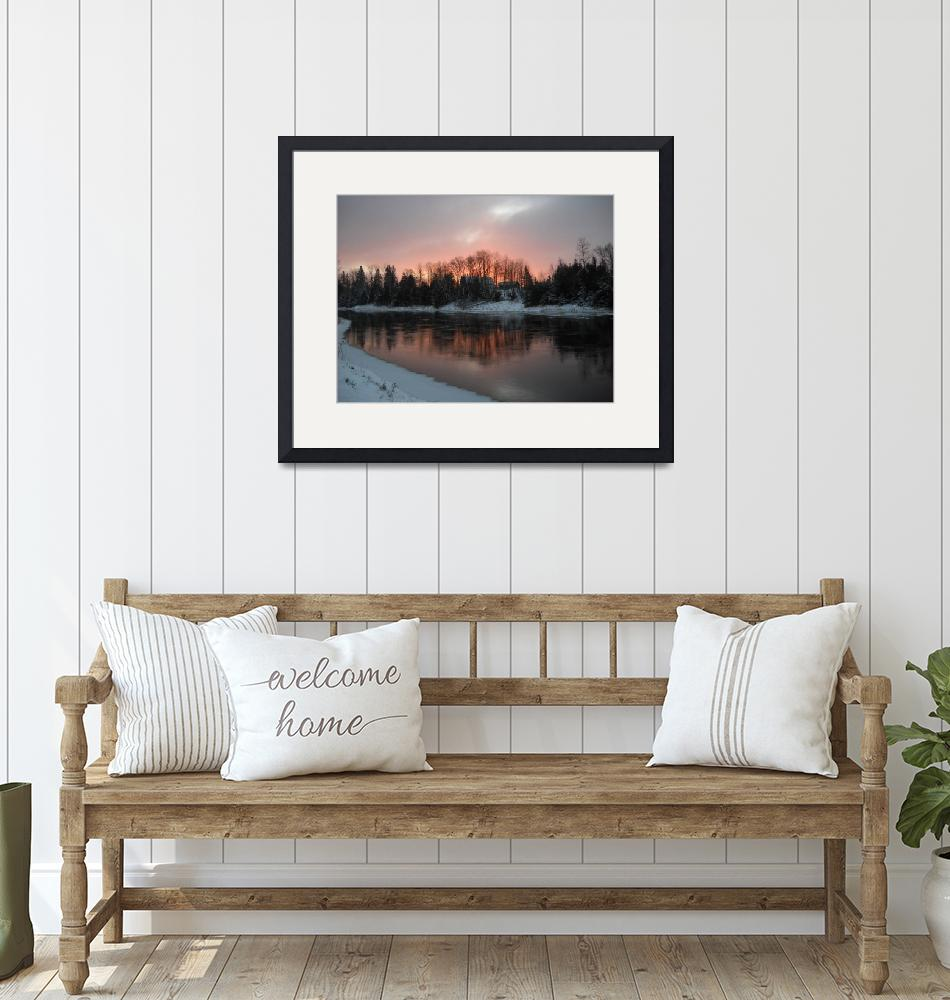 """""""Mississippi River Orange Dawn""""  (2010) by niftywares"""