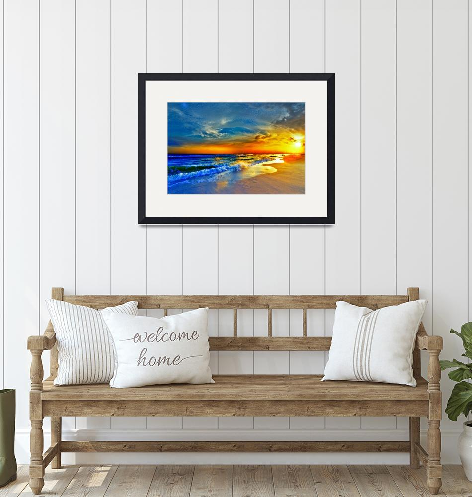 """Red Orange Blue Sunset Beach Sea Waves Art Prints""  (2013) by eszra"