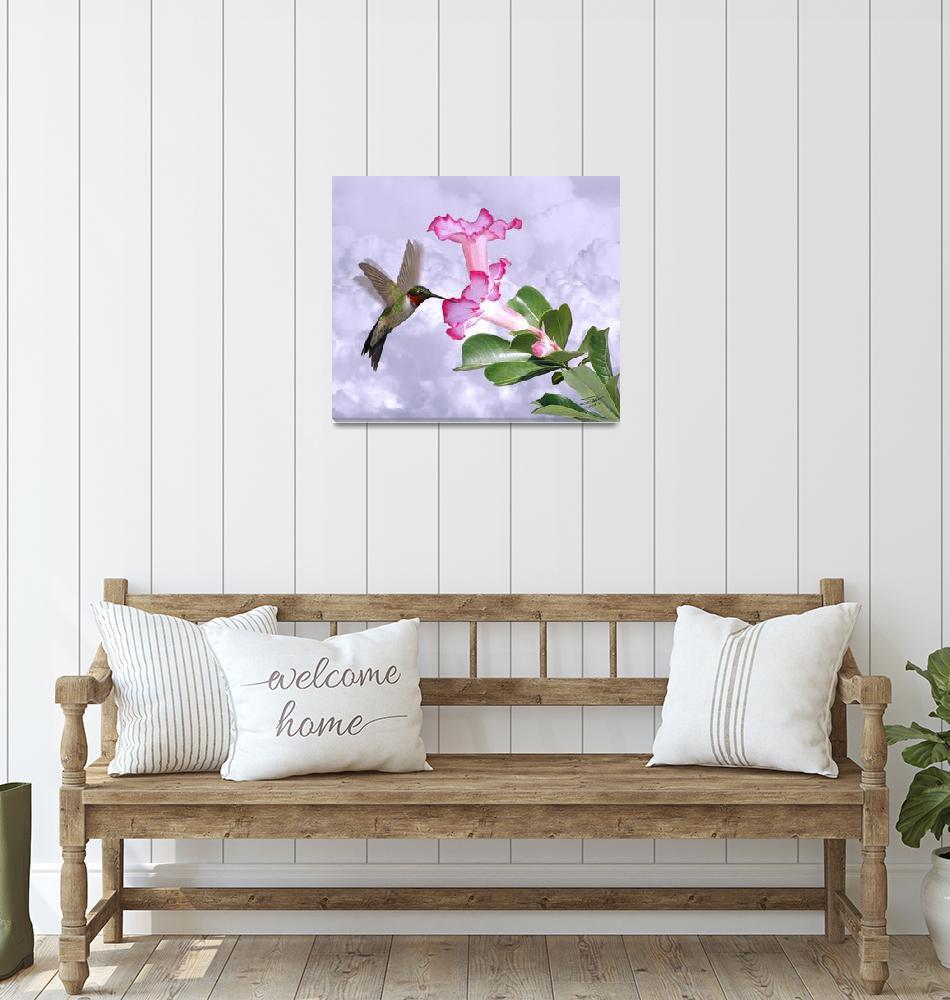 """Hummingbird and Desert Rose""  (2015) by spadecaller"