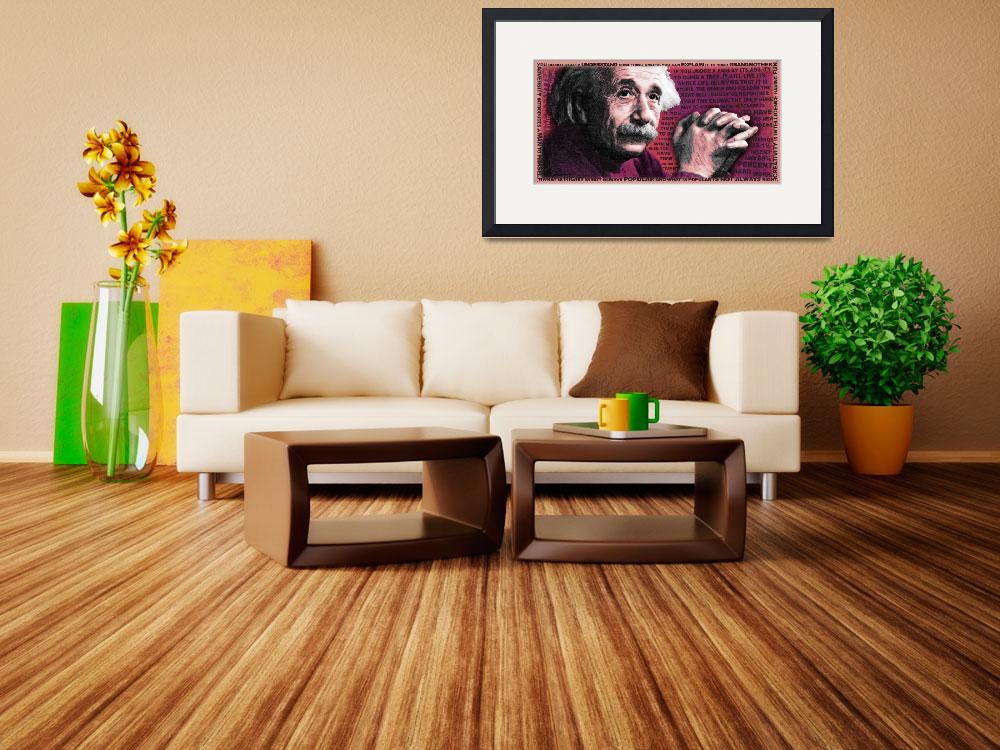 """""""Albert Einstein and Quotes Gold and Red&quot  (2018) by RubinoFineArt"""