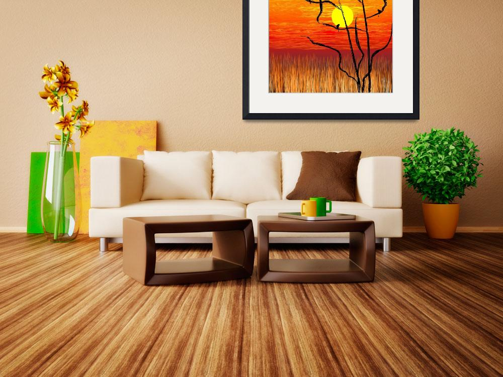 """""""Digital painting of tree in a sunset""""  (2009) by digitalpainting"""