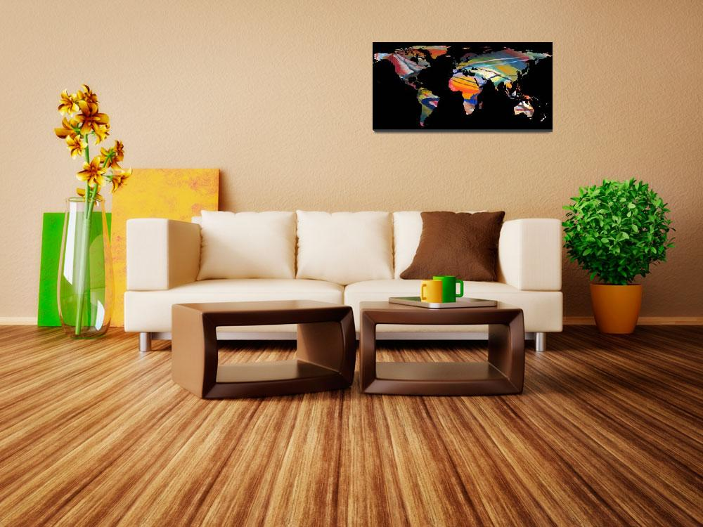 """""""World Map Silhouette - An Abstract World&quot  by Alleycatshirts"""