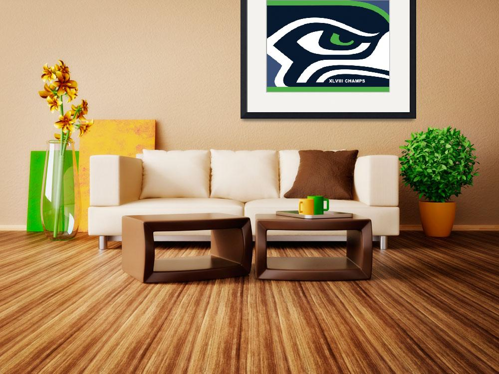"""Seattle Seahawks Super Bowl Champs&quot  (2015) by RubinoFineArt"