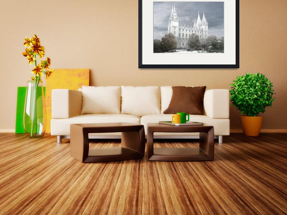 """""""Salt Lake Temple - winter Large-16x22-tinted&quot  by TerrySpringer"""