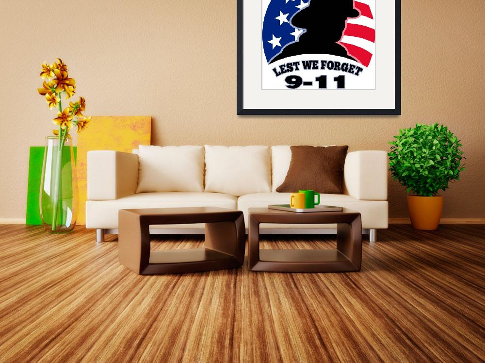 """""""9-11 fireman firefighter american flag&quot  (2013) by patrimonio"""