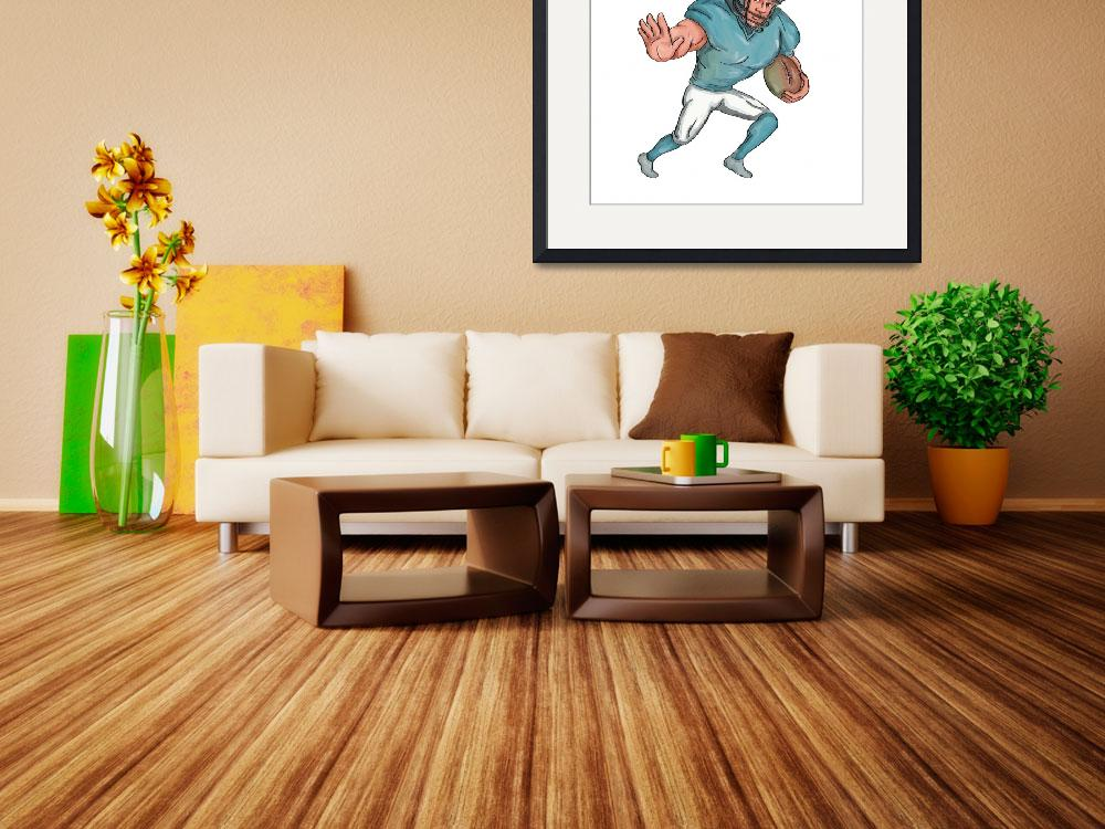 """American Football Player Stiff Arm  Caricature&quot  (2016) by patrimonio"