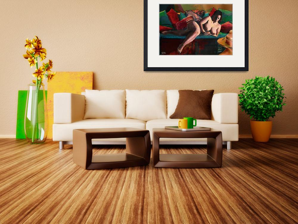 """FINE ART FEMALE NUDE PARIS RECLINING&quot  by grl"