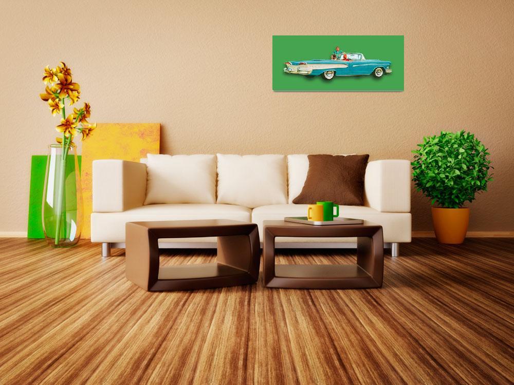 """Edsel Car Advertisement Convertible Green&quot  (2015) by RubinoFineArt"