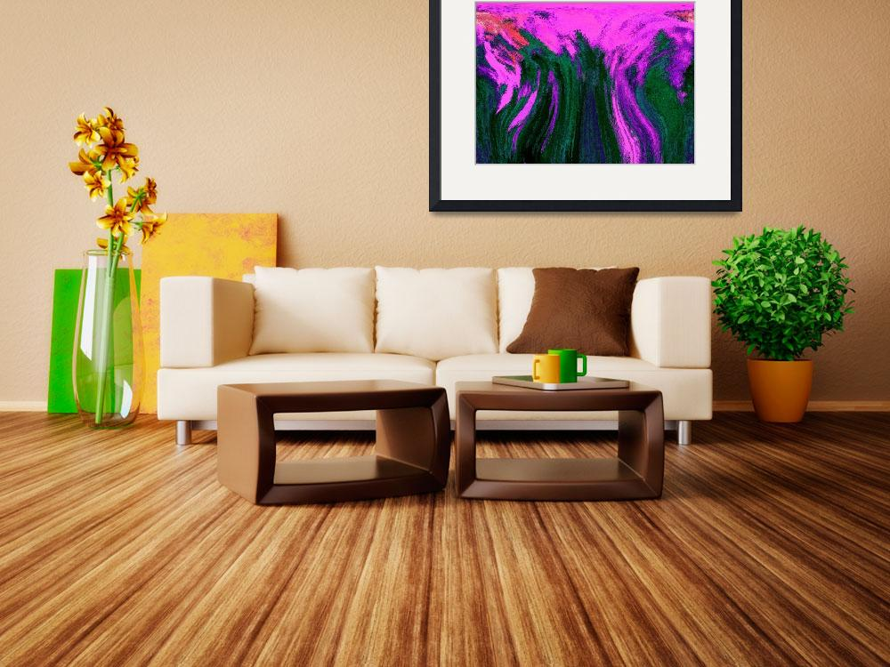 """""""Pink and Green abstract&quot  (2012) by KsWorldArt"""