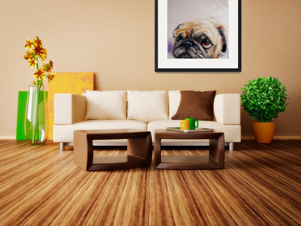 """PUG LOVE M BALDWIN ORIGINAL ART&quot  (2008) by MBaldwinFineArt2006"