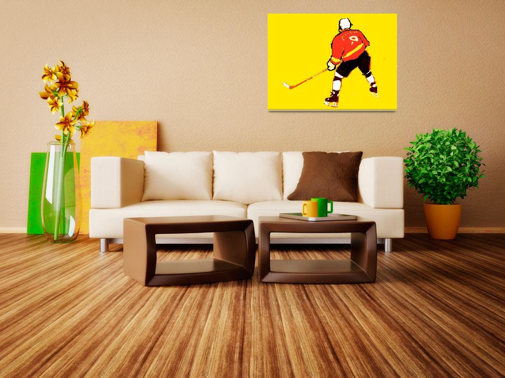 """Hockey Center yellow red black white (c)""  (2014) by edmarion"