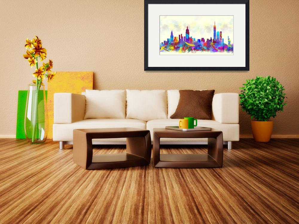 """new york city skyline watercolor print""  (2016) by maryedenoa"