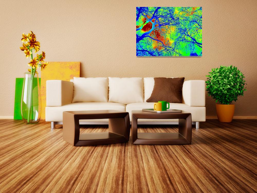 """""""Green, yellow, red and blue trees&quot  (2013) by cathyjacobs"""