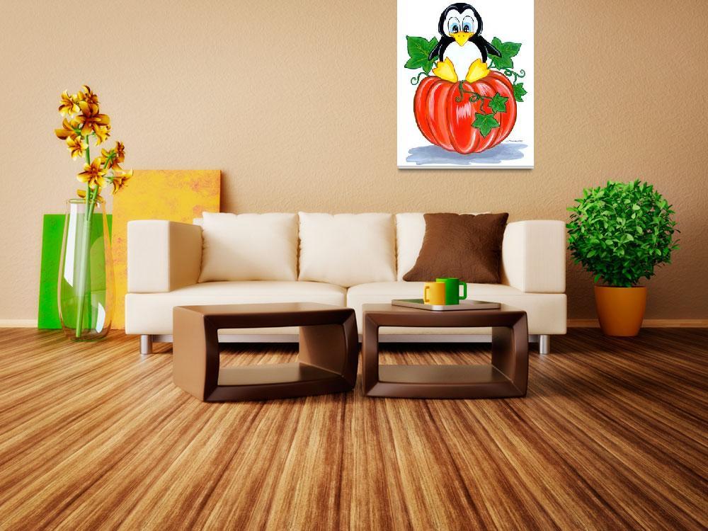 """Penguin on a Pumpkin""  (2010) by BarbaraPelizzoli"
