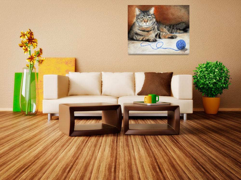 """Dare ya! Tabby Cat Feline with String by Violano""  (2007) by stella"