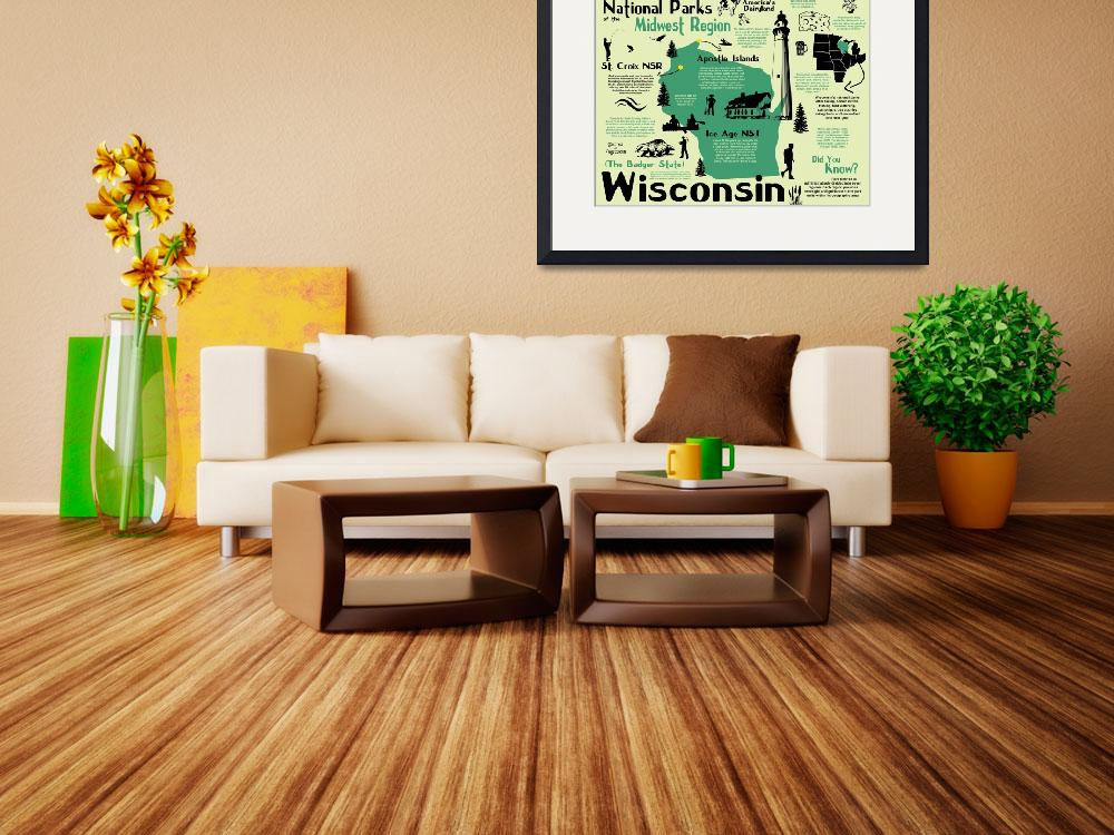 """""""Wisconsin National Parks Infographic Map""""  by Alleycatshirts"""