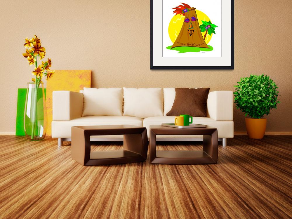"""""""Stylized Tiki with Palm Tree&quot  (2010) by theblueplanet"""