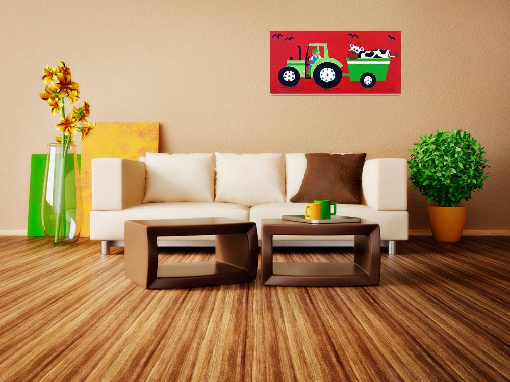 """""""Green Tractor on Red&quot  (2012) by CharlotteBurr"""