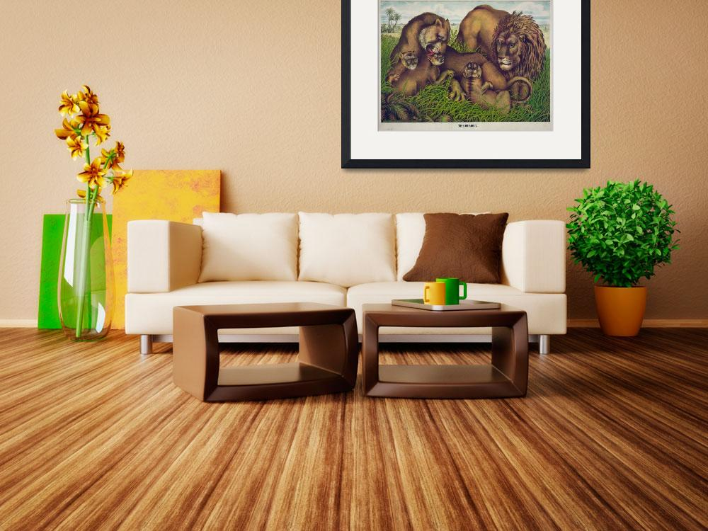 """""""Vintage Illustration of a Lion Family (1874)&quot  by Alleycatshirts"""