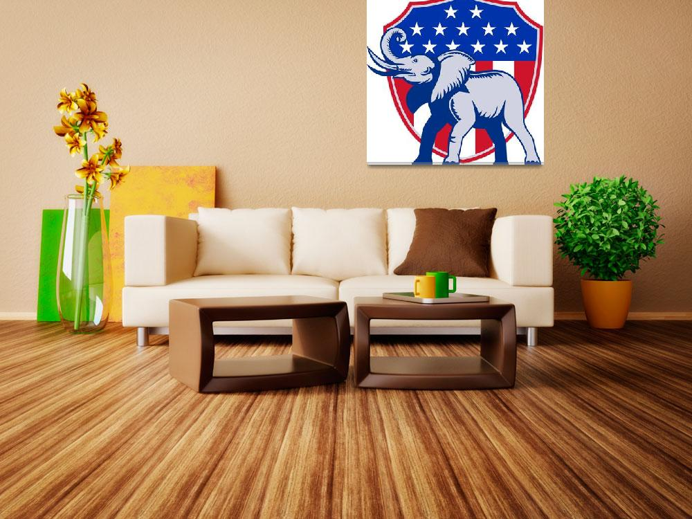 """Republican Elephant Mascot USA Flag""  (2013) by patrimonio"