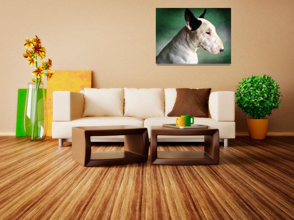 """Bull Terrier on Green""  (2009) by ModernArtPrints"