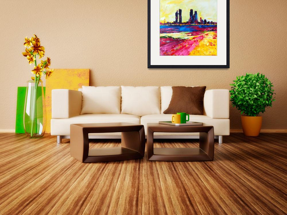 """""""Heat Wave - Abu Dhabi Abstract Cityscape Painting&quot  (2014) by AmiraRahim"""