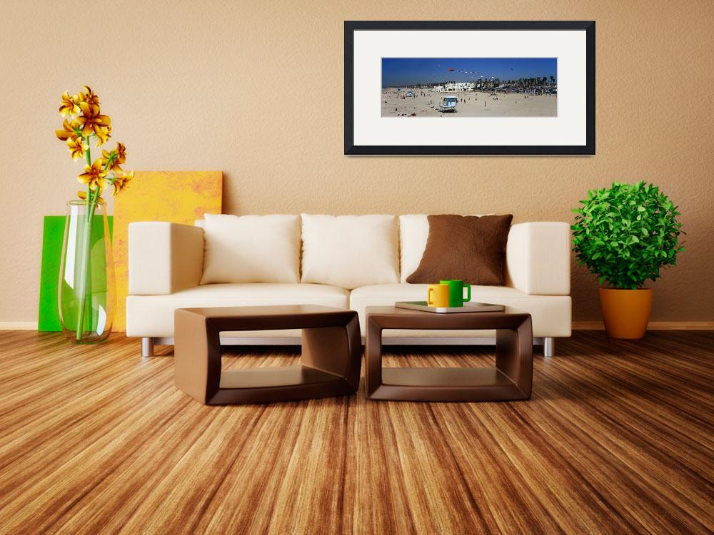 """""""Tourists on the beach Huntington Beach Orange Cou&quot  by Panoramic_Images"""
