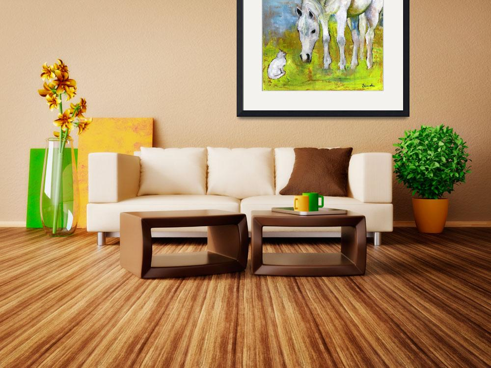 """Best Friends Horse Art Painting&quot  by BlendaStudio"