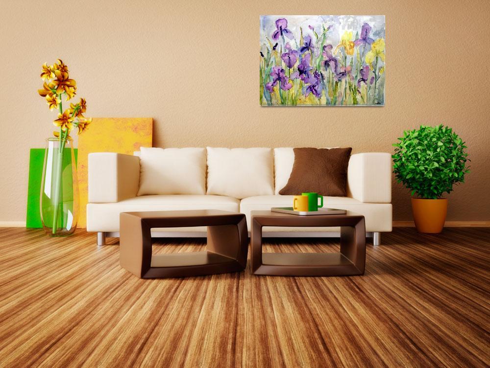 """Romantic Ruffles, Watercolor Painting Purple Irise""  (2009) by schulmanart"