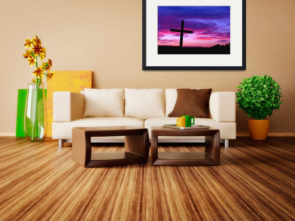 """""""From Above: Cross Silhouetted by a Colorful Sunset&quot  by PaulHuchton"""