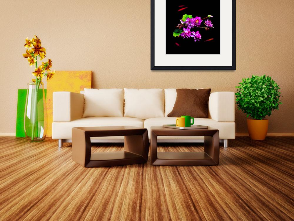 """""""Chinese Lily & Koy Pond&quot  (2011) by tgrgalleries"""