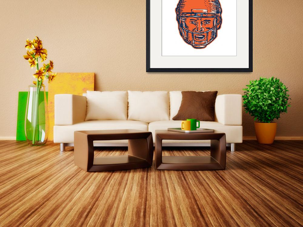 """""""American Football Player Head Etching&quot  (2015) by patrimonio"""