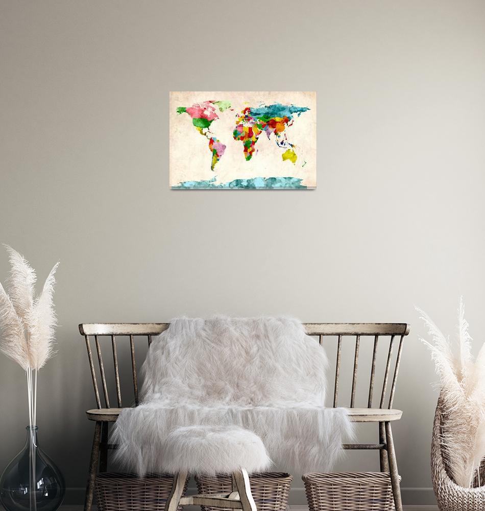 """""""World Map Watercolors""""  (2011) by ModernArtPrints"""