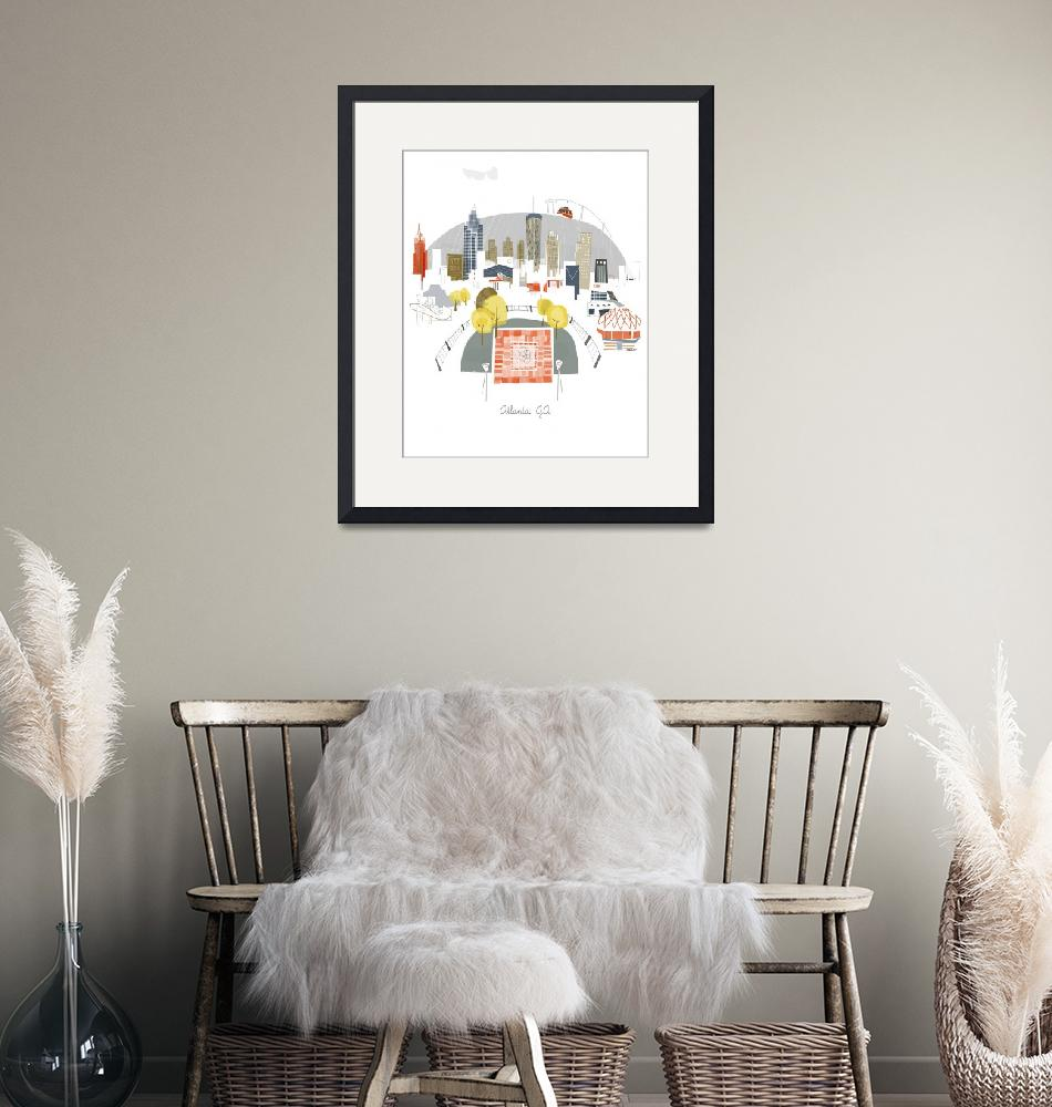 """""""Atlanta Modern Cityscape Illustration""""  by AlbieDesigns"""