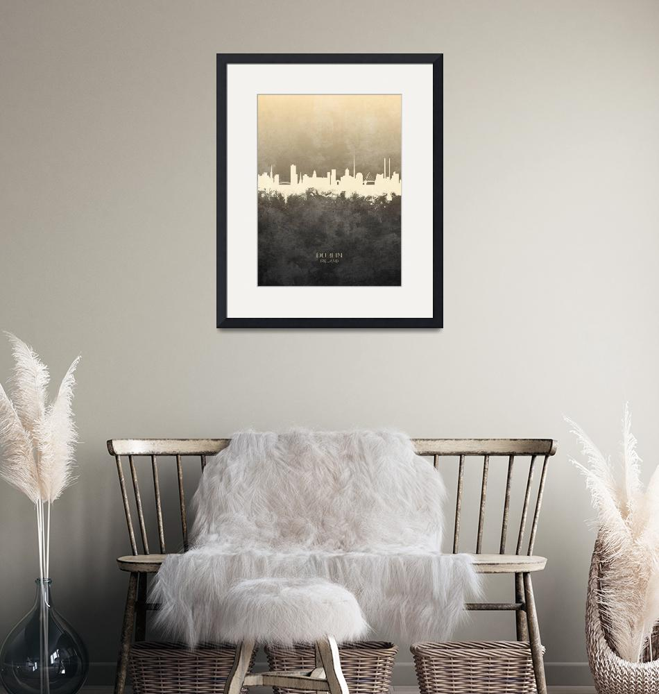 """Dublin Ireland Skyline""  (2019) by ModernArtPrints"