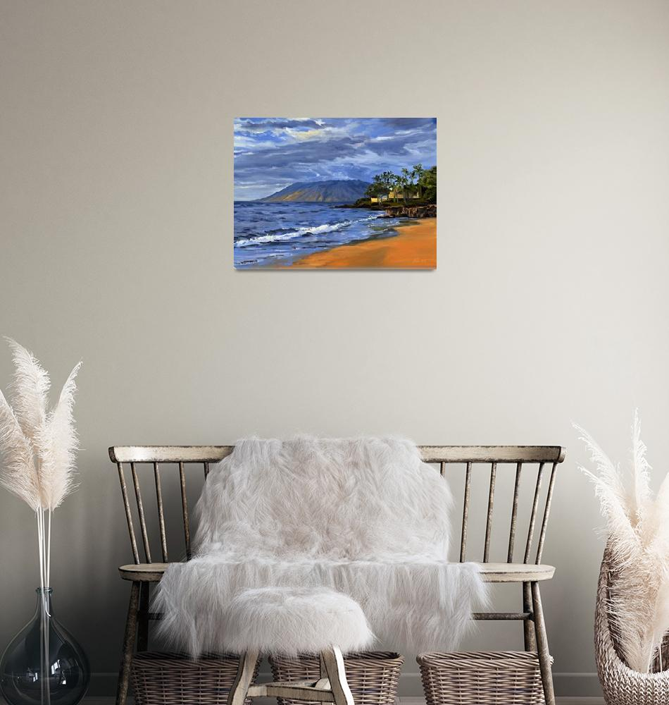"""""""Hawaii Beach Sunset Painting With Ocean Waves At W""""  (2008) by KeatingArt"""