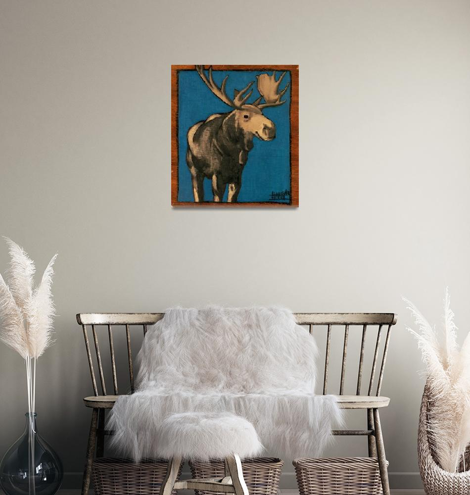 """Moose on Blue 12_75 x 11_5""  by harryboardman"