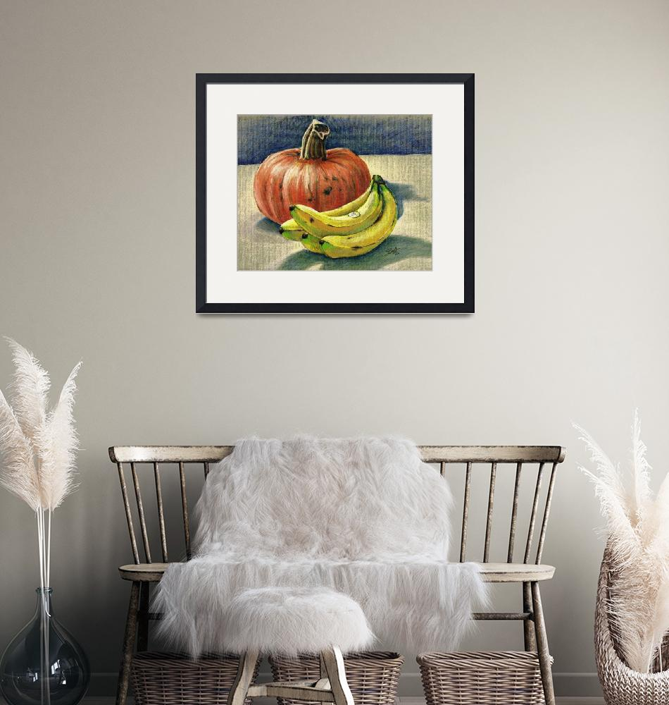 """Pumpkin and bananas still life""  (1993) by sboyle"