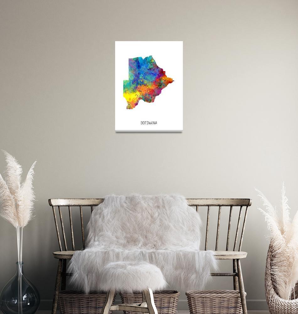 """Botswana Watercolor Map""  (2019) by ModernArtPrints"