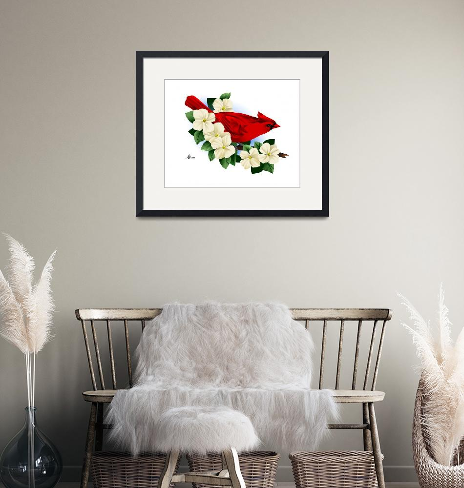 """Red Cardinal Grosbeak""  by waterart"