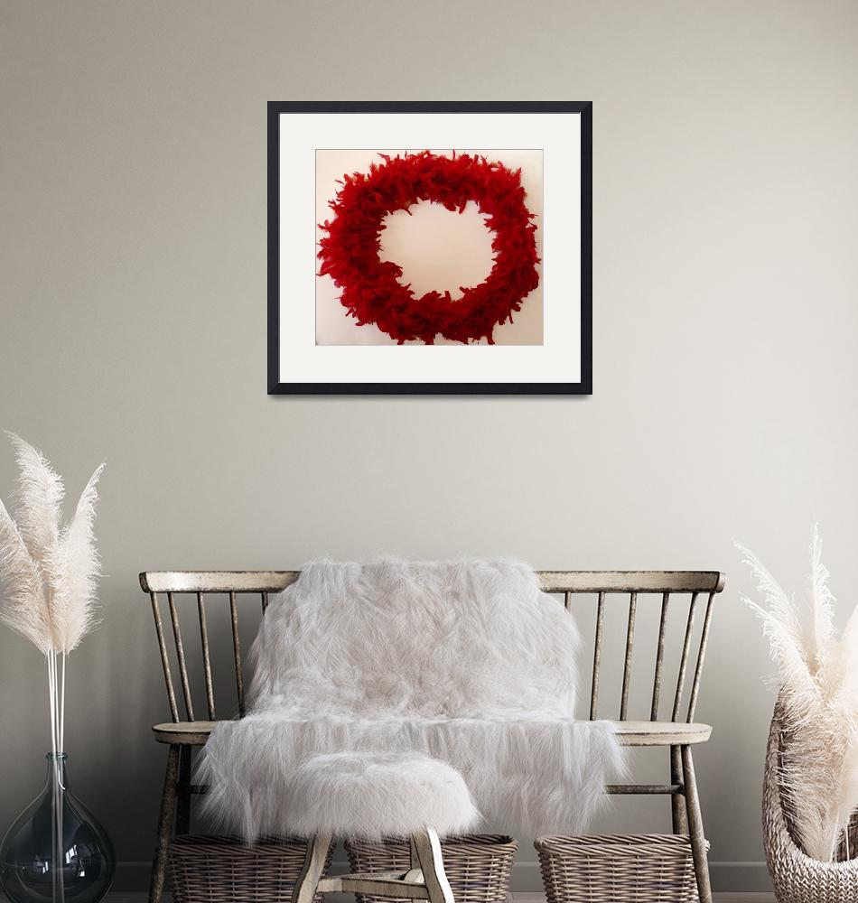 """Red Feather Circle Frame""  (2009) by BarbaraIreland"