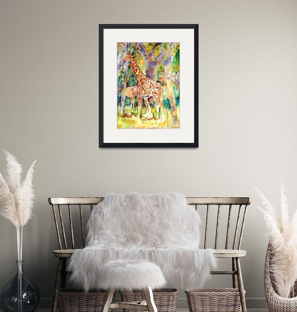 """""""Giraffe Park, Abstract Watercolor Painting""""  (2007) by schulmanart"""