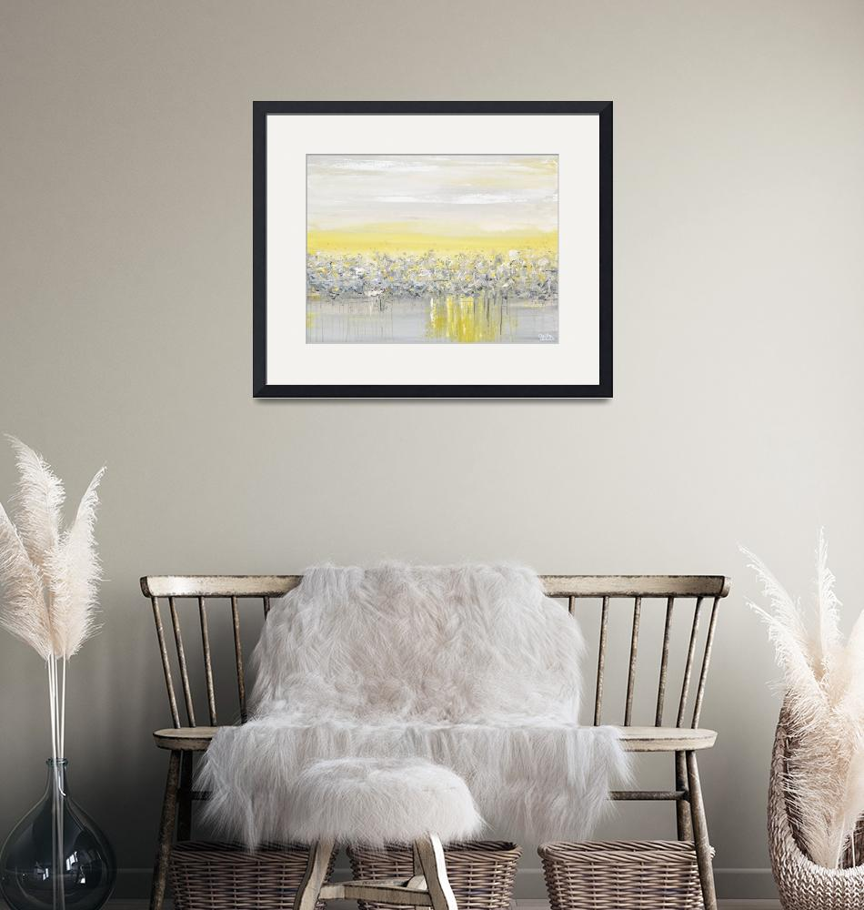 """""""""""Light and Peace"""" Yellow Grey Coastal Abstract""""  (2017) by ChristineBell"""