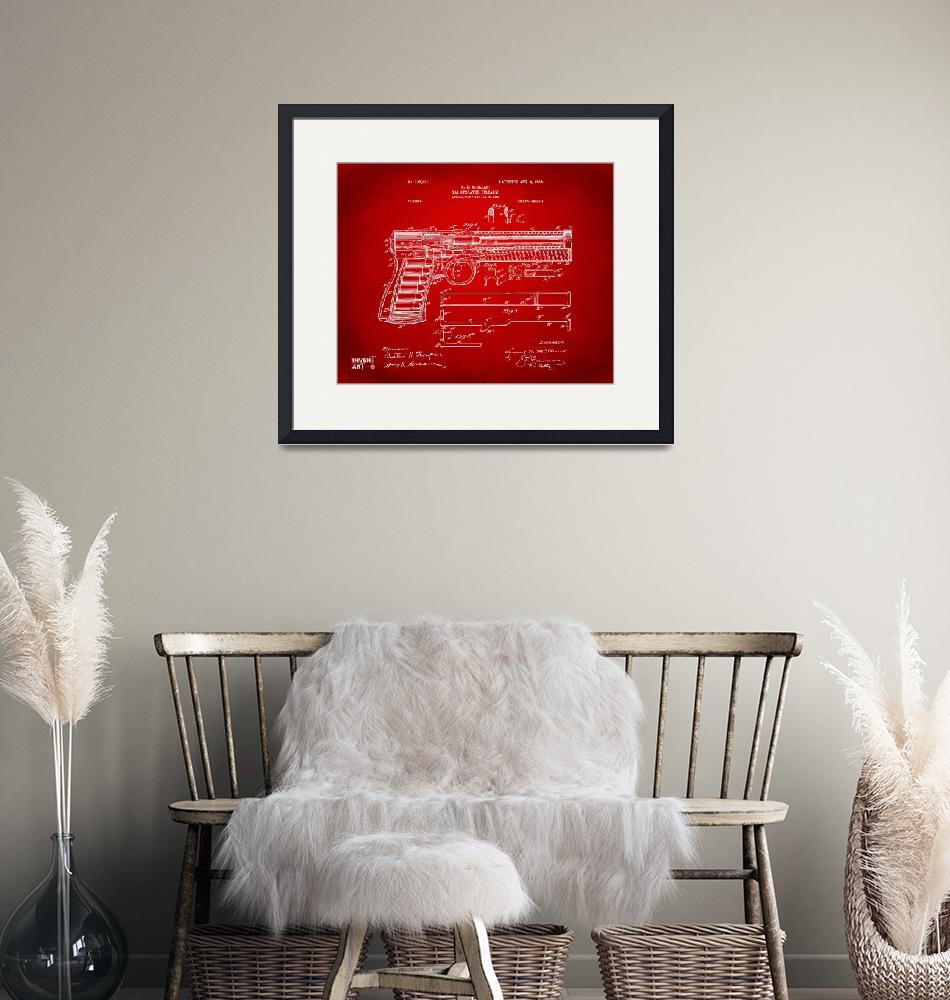 """""""1903 Mcclean Pistol Patent Red""""  by nikkismith"""